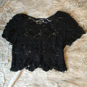 Black Lace Express Crop Top Small